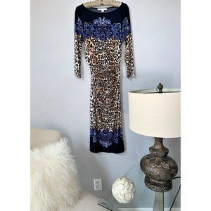 Boston Proper Blue and Cheetah Multi-Print Dress